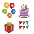 Four icons for birthday — Stock Vector