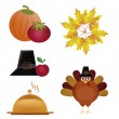 Stock Vector: Five icons for thanksgiving day