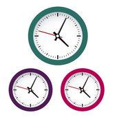 Colored clocks — Stock Vector