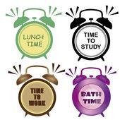 Four clocks — Stock Vector