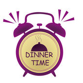 Dinner time clock — Stock Vector