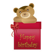 Bear wishes happy birthday — Stock Vector