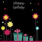 Happy birthday with flowers — Stock Vector