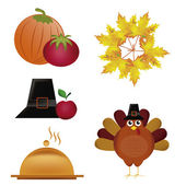 Five icons for thanksgiving day — Stock vektor