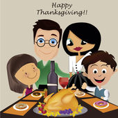 Family in thanksgiving day — Stock Vector