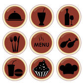 Nine silhouettes for menu — Stock Vector