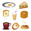 Eight icons for breakfast — 图库矢量图片