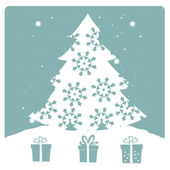 White tree with snowflakes — Stock Vector