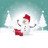 Happy snowman — Cтоковый вектор