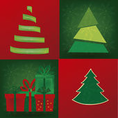 Four christmas tree — Stock Vector
