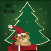 Teddy bear for christmas — Stock Vector