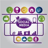 Purple social media — Stock Vector