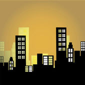 Black silhouettes of buildings — Vector de stock