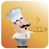 Happy chef with pizza — Stock Vector