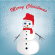 Happy snowman in christmas — Stock Vector