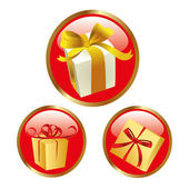 Red icons with presents — Stock Vector