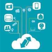 Il cloud computing e le sue funzioni — Vettoriale Stock