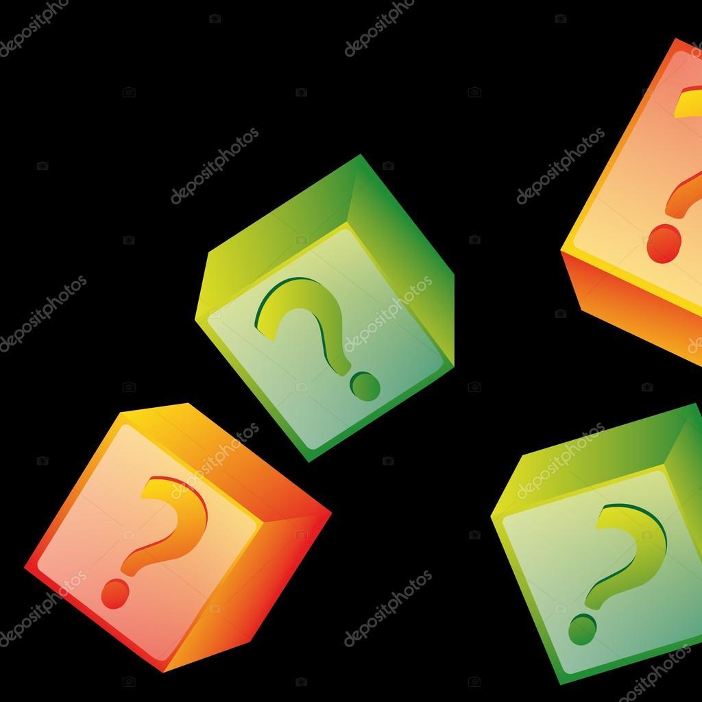 四个带问号里面在黑色背景中的彩色的框
