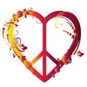 Heart peace symbol — Stock Vector