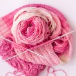 Stock Photo: Knitting. Bamboo yarn