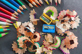 Colorful pencils and rubbish — Stock Photo