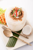 Ho Mok Thai food steamed seafood custard , curry seafood mixed — Stock Photo