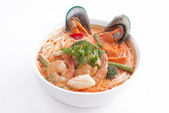 Tom yum soup with noodle. — Stock Photo