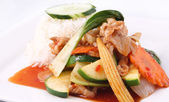 Thai food, Stir fried sweet chilli sauce with rice. — Stock Photo
