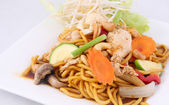 Hokkien noodles stir fried with chilli jam and cashew nuts, Thai — Stock Photo