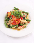 Thai food stir fried with chicken and chilli basil. — Stock Photo