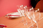 Tables set for meal in restaurant. — Stock Photo