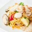 Hokkien noodles with seafood. — Stock Photo