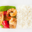 Thai take away food, sweet and sour sauce with rice — Stock Photo