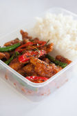 Thai take away food, stir fried chicken with rice — Stock Photo