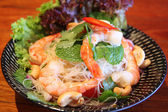Sour and spicy vermicelli salad with prawn — Stock Photo