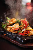 Seafood sizzling — Stock Photo