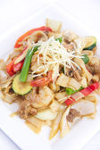 Stir fried flat rice noodles with ginger sauce. — Stock Photo