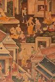 Obra-prima da arte da pintura tradicional estilo tailandês — Foto Stock