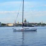 Yacht on the Neva River — Stock Photo #47863615