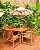 Outdoor chair in the garden — Stock Photo