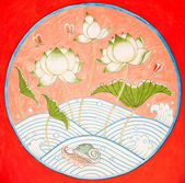 Lotus tekening in thaise stijl — Stockfoto