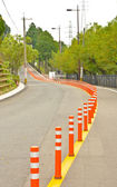 Empty road with traffic barrier in Isahaya, Japan — Stock Photo