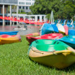 Colorful canoe on grass — Stock Photo #33209433