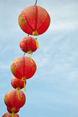 The chinese lamps with blue sky — Stok fotoğraf