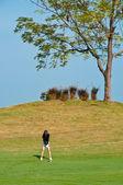 An asian woman plays golf — Foto Stock