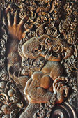 Wood craving of Symbolic lion as Fire — Stock Photo