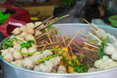 The steam meat ball with stick for sell in Thai style — Stock Photo