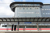 The empty platform with train with control tower of Frankfurt Ma — Stock Photo