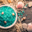 Set of spa accessories. Sea salt with seashells. — Stock Photo