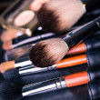 Professional make-up brushes with eye shadows palette. — Stockfoto